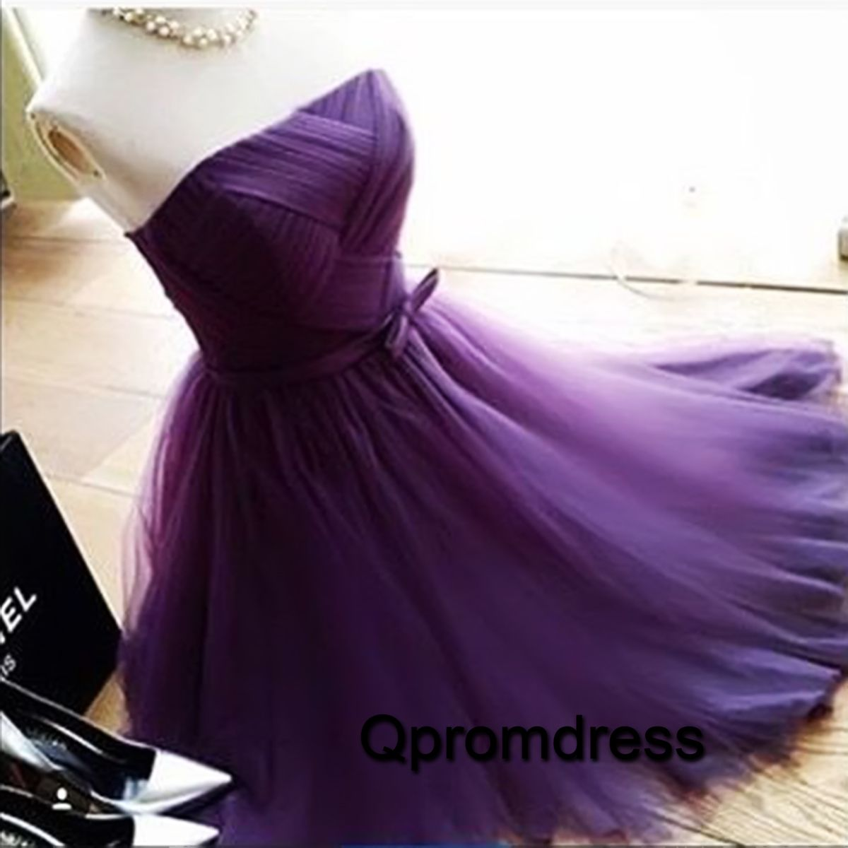 Cute purple tulle strapless prom dress for teens homecoming