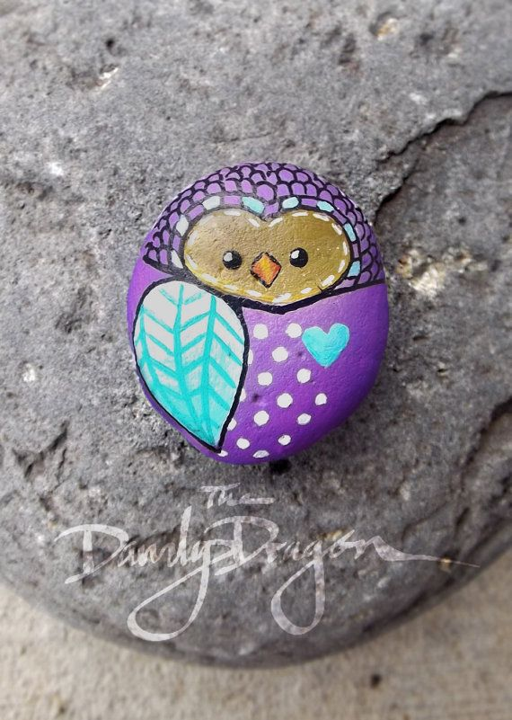 Owl painted rock in Purple, White, and Teal
