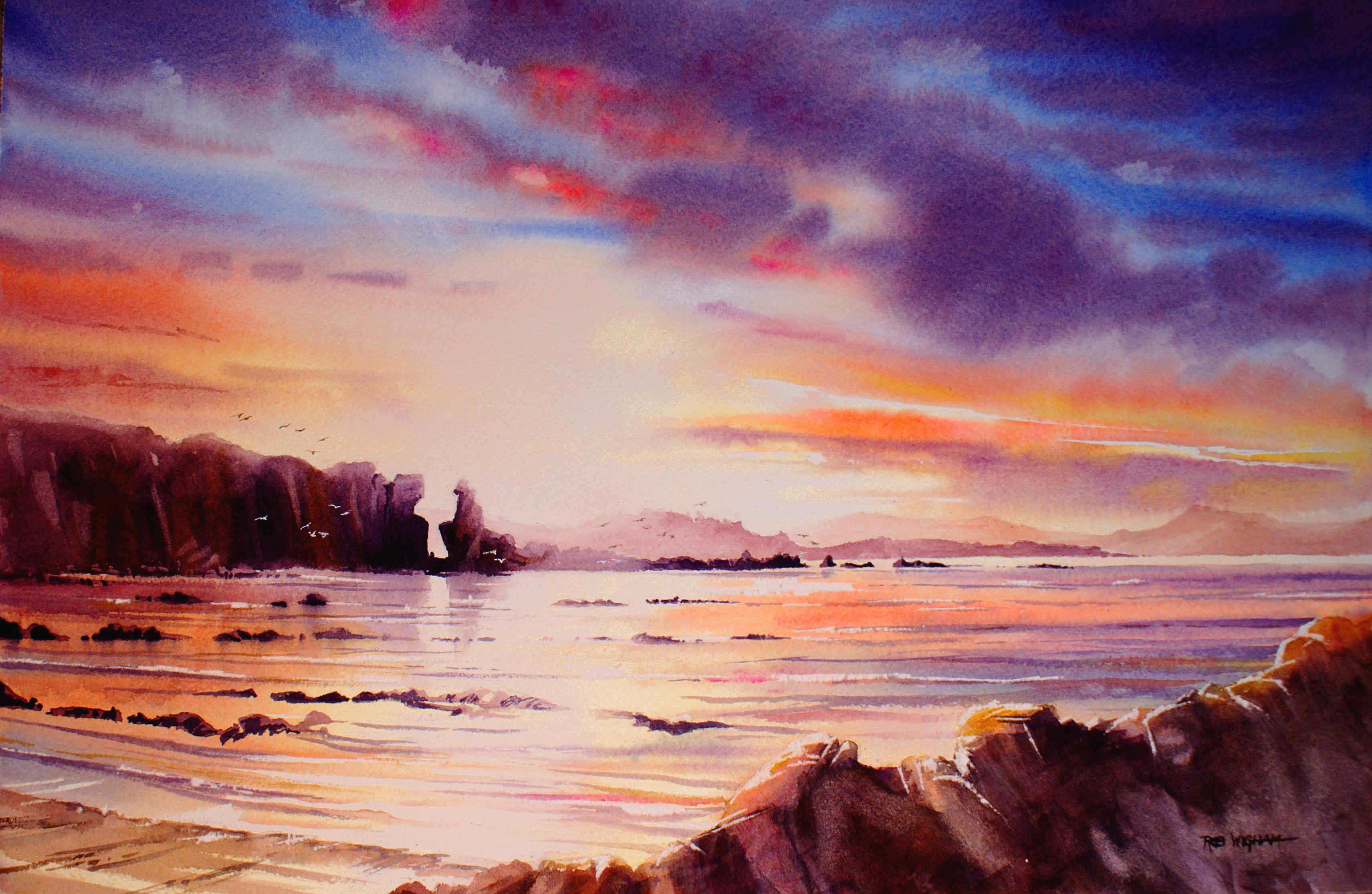 Cummingston Sunset Watercolour 52 X 34 Cm Artist Inspiration