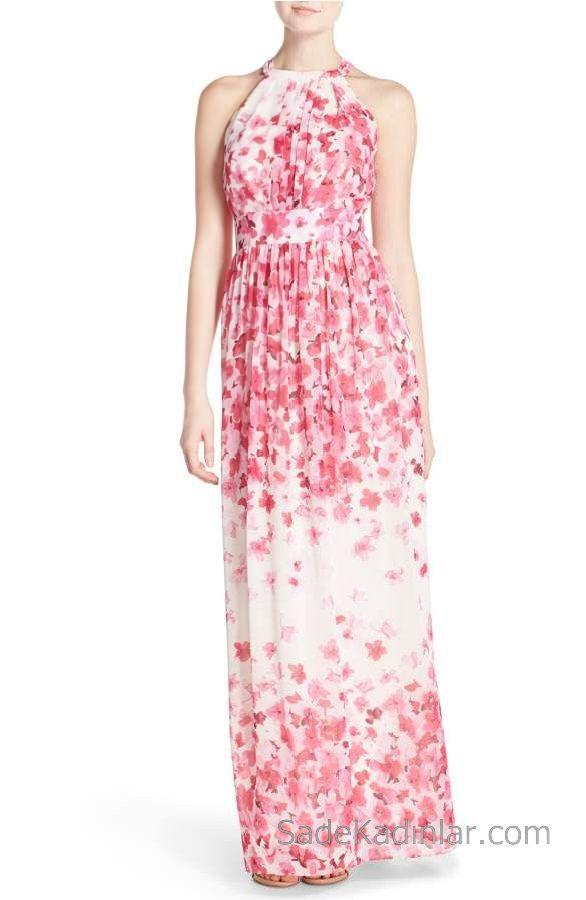 f04aa3693bb31 2018 Yazlık Çiçekli Şifon Elbise Modelleri Beyaz Uzun Halter Yaka Çiçek  Desenli