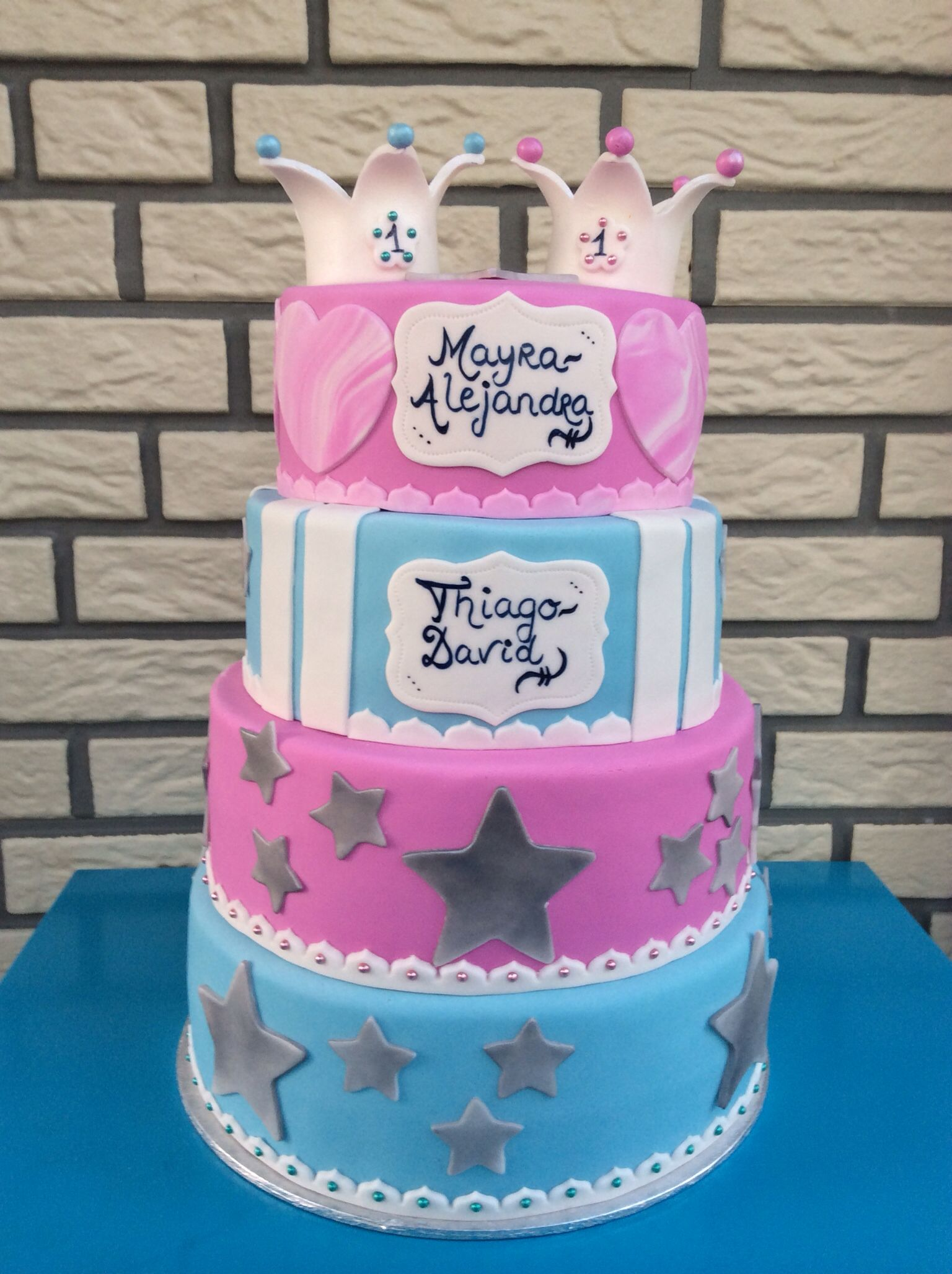 Birthday cake twins boy and girl... | My Creations ...