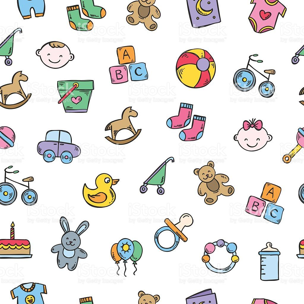 baby background seamless vector pattern with toys and baby symbols
