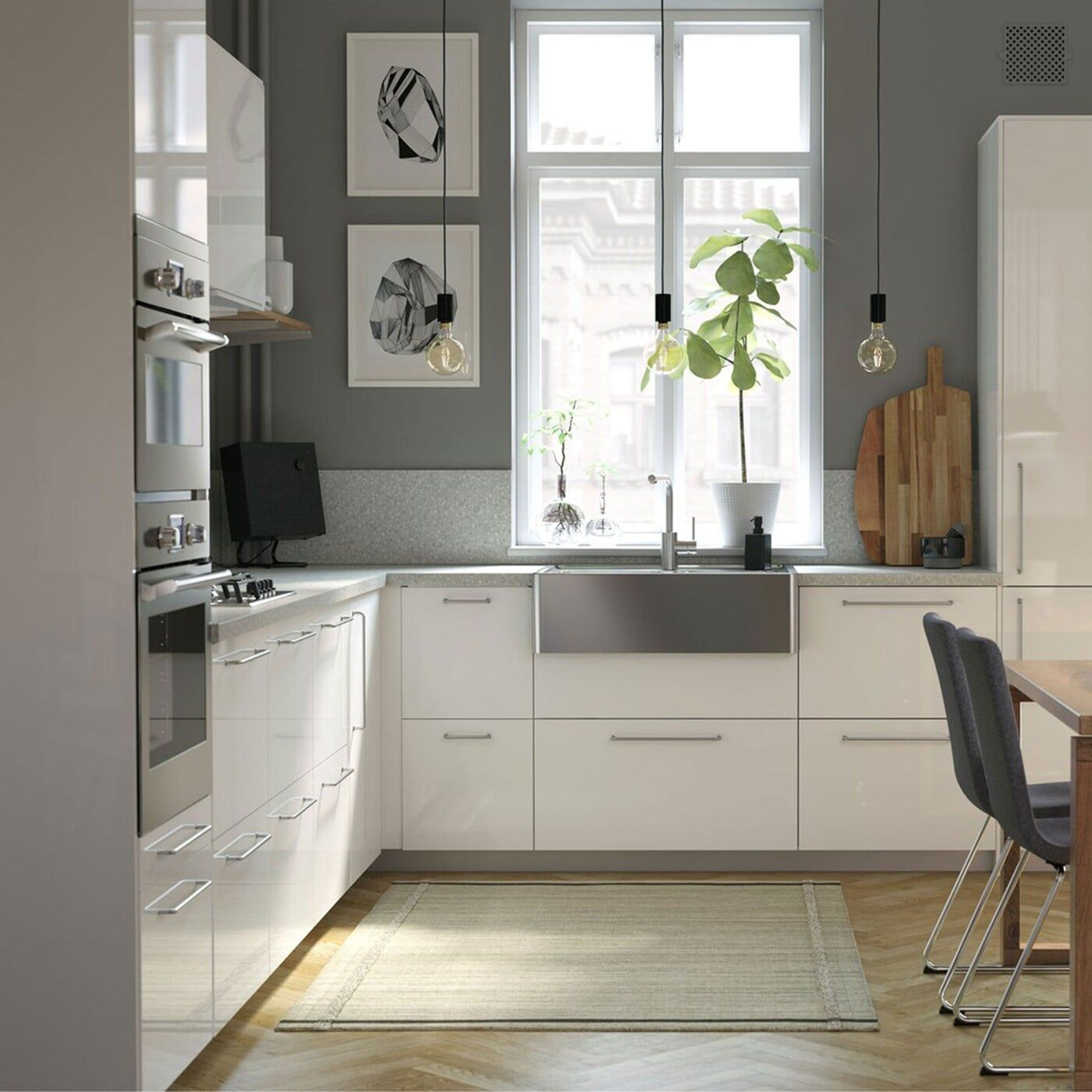 A modern, bright, and airy kitchen with wooden detail in