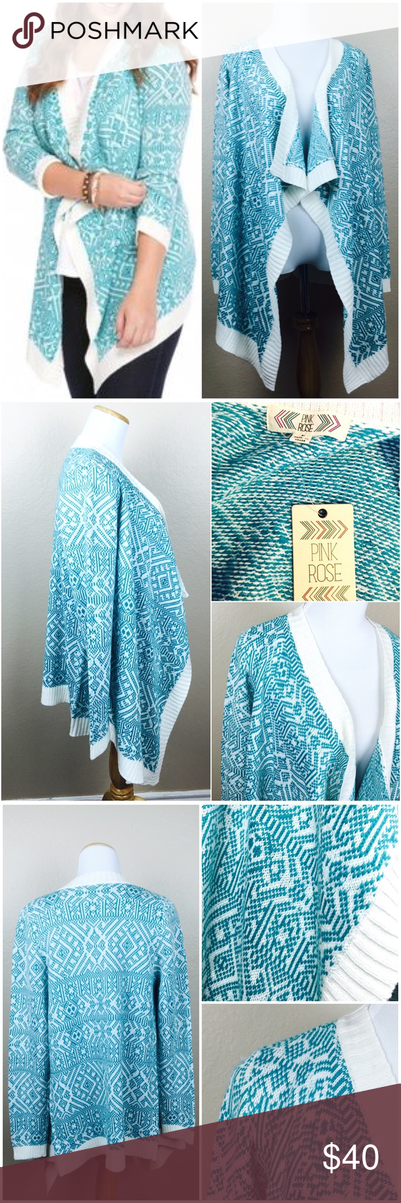 "Teal Spring Knit Open Asymmetrical Cardigan New with Tags. Perfect spring colors! Pink Rose Boutique Asymmetrical Knit Cardigan. Size Medium. Long sleeves. 100% Acrylic. Back length 27"". Front length 34"". Sleeves (pit to hem) 19"". Pink Rose Sweaters Cardigans"