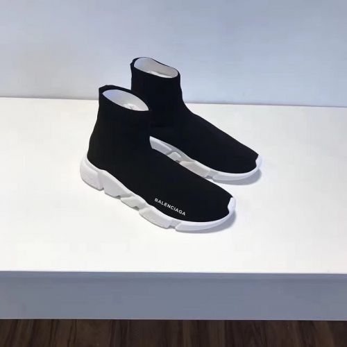 ec83068054e0 Discount Womens Balenciaga Speed Knit 2018 Fashion Trainers Face Black Contrasting  Textured White Sole