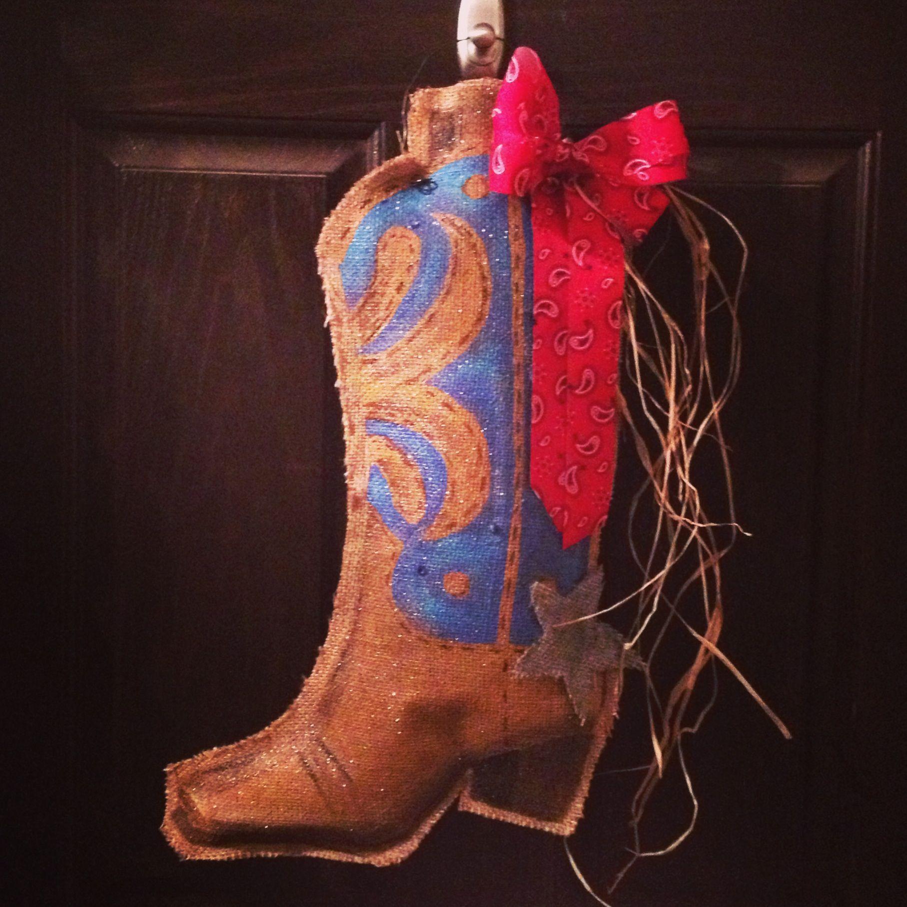 Painted burlap door hanger for rodeo time!