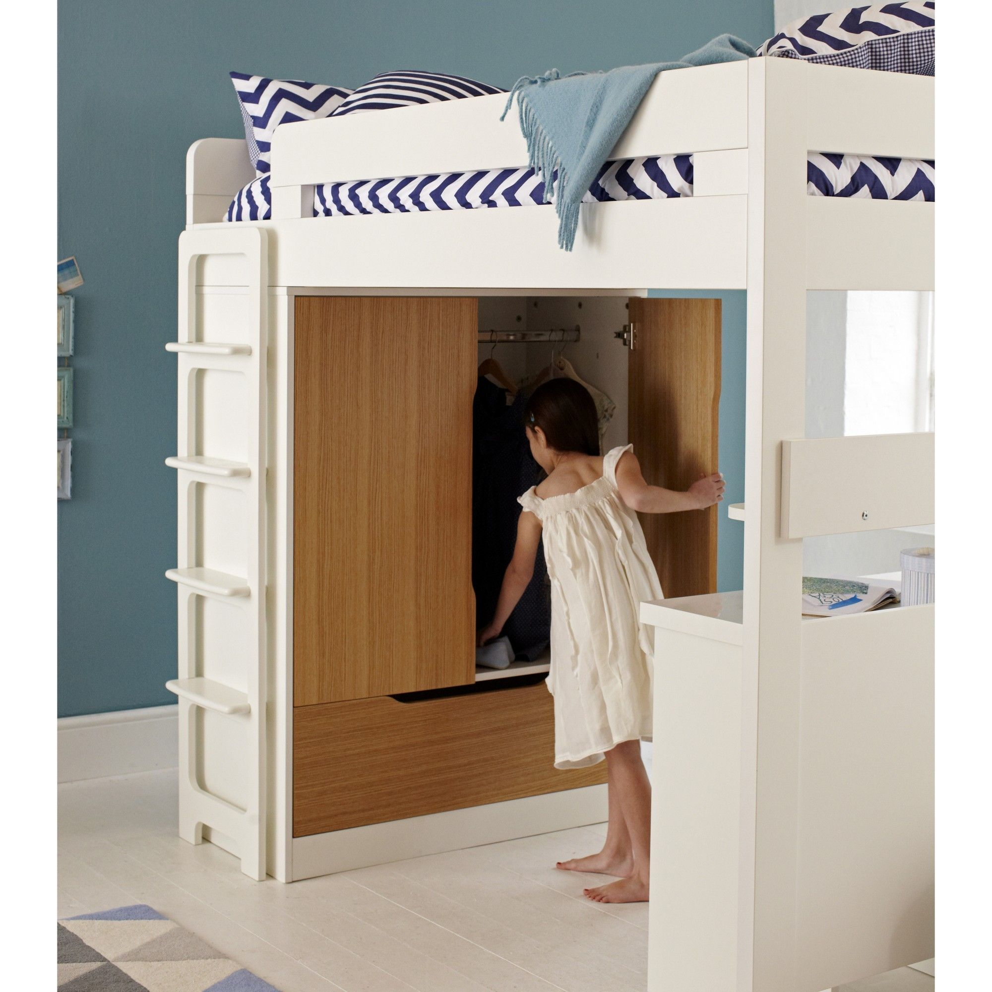 The Farringdon High Sleeper Includes A Bed With An Integral Double Door  Wardrobe With Soft Close Doors Storage Drawer, A Book Shelf And Desk.