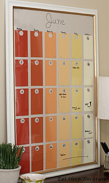 Diy Paint Chip Calendar Paint Chip Calendar Bedroom