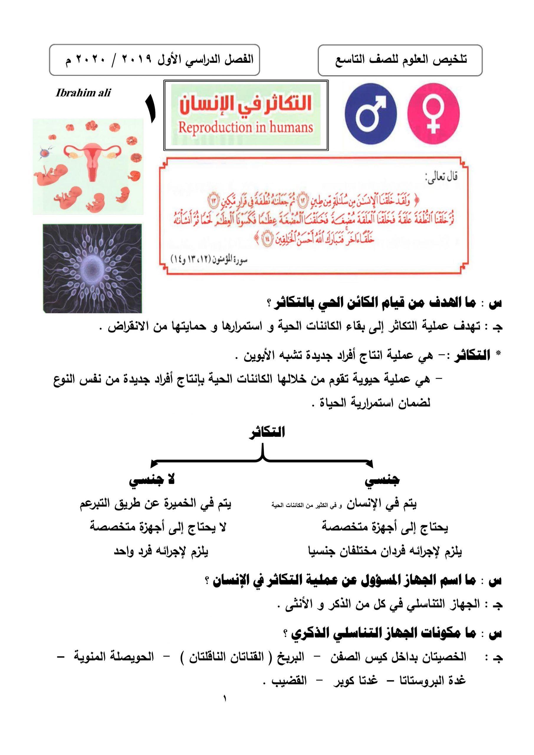 ملخص شامل الفصل الدراسي الاول الصف التاسع مادة العلوم المتكاملة Human