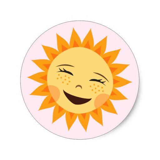 Cartoon Sun Adorable Pink Stickers For Girls Zazzle Com Cartoon Sun Happy Sun Laugh Cartoon