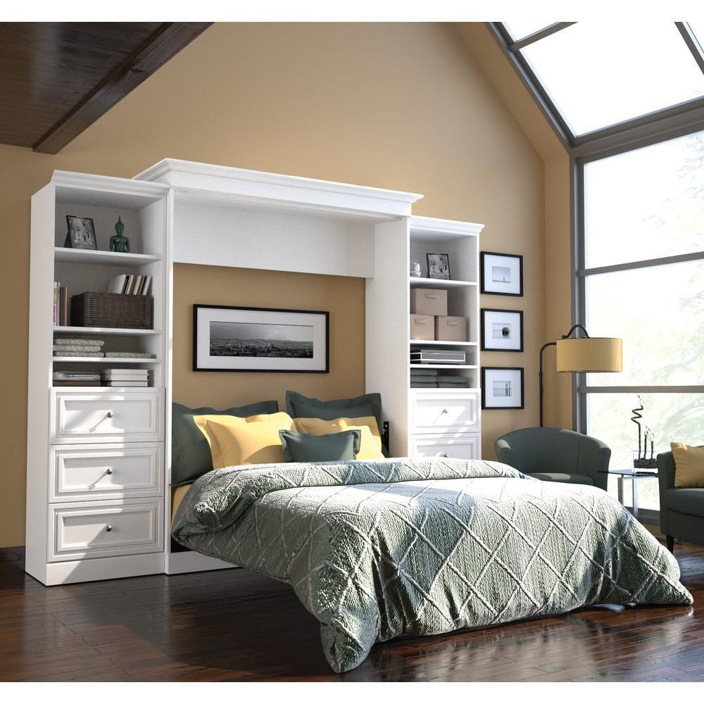 Queen Murphy Bed White Wall Bedroom Bookcase Drawers