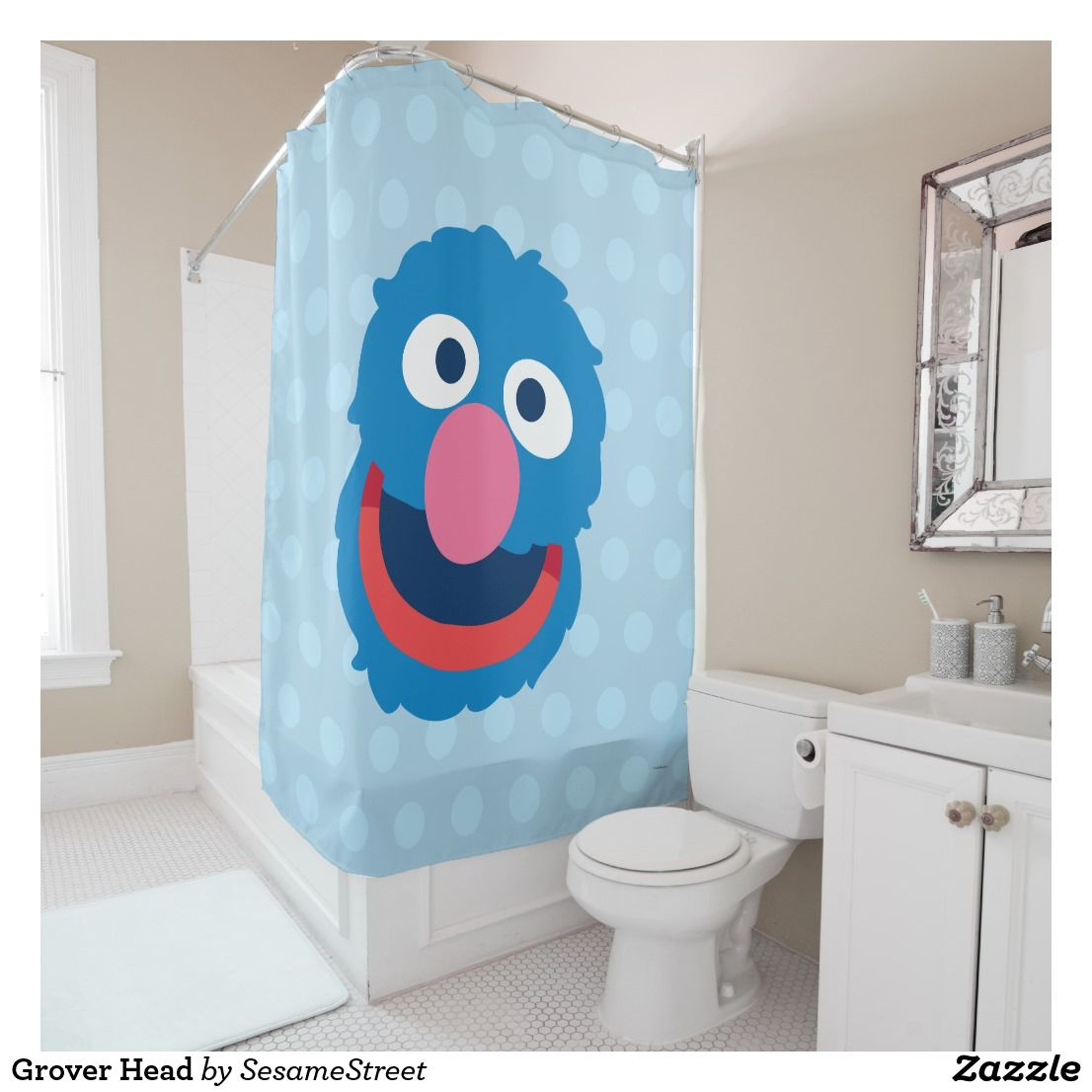 Grover Head Shower Curtain Various Fun Gifts and Presents for Kids