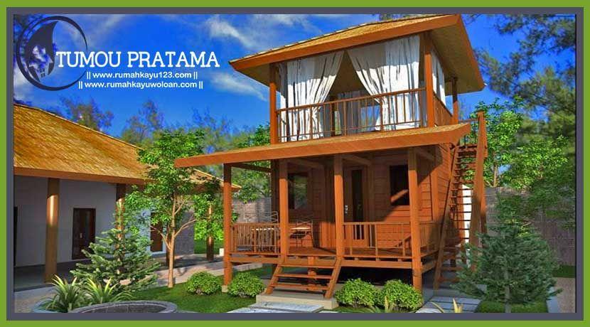 Bungalow Rumah Kayu Tipe 40 Tumou Pratama Rumahkayuwoloan Com Desain Rumah Eksterior Rumah Kayu Desain Rumah