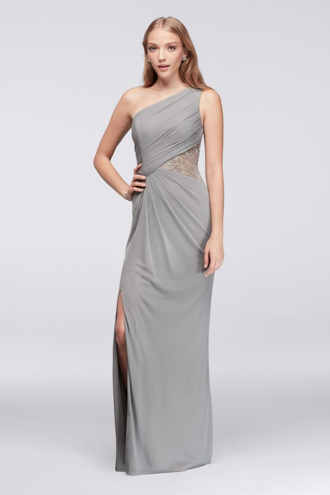 77187ddb3b6 One-Shoulder Mesh Dress with Metallic Lace Inset Style F19419M ...
