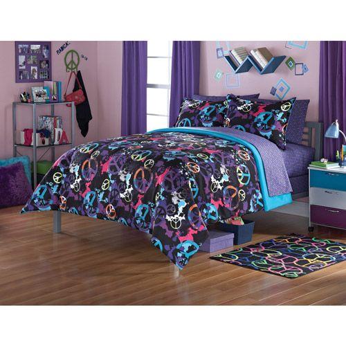 Girl Twin Comforter Set. Twin Bedding Skull Peace Sign