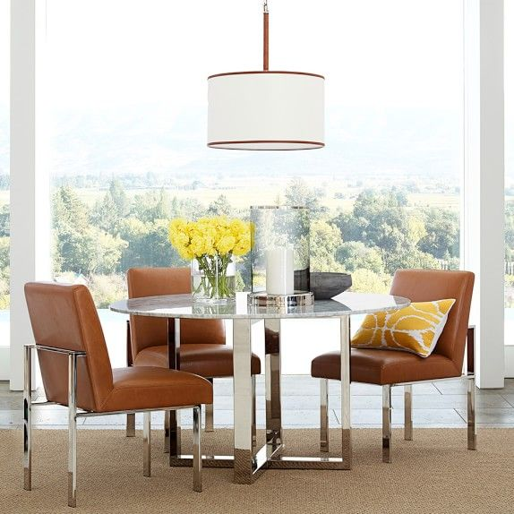 Woven Leather Pendant Dining Table Casual Dining Rooms Rectangular Dining Table