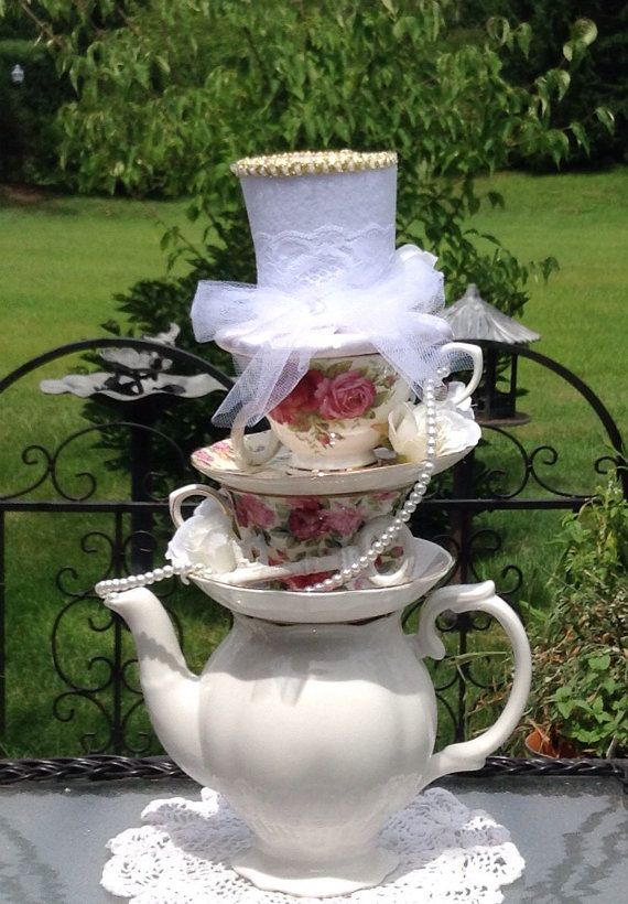 Bridal shower teapot teacup centerpiece 15 by for Tea party centerpieces