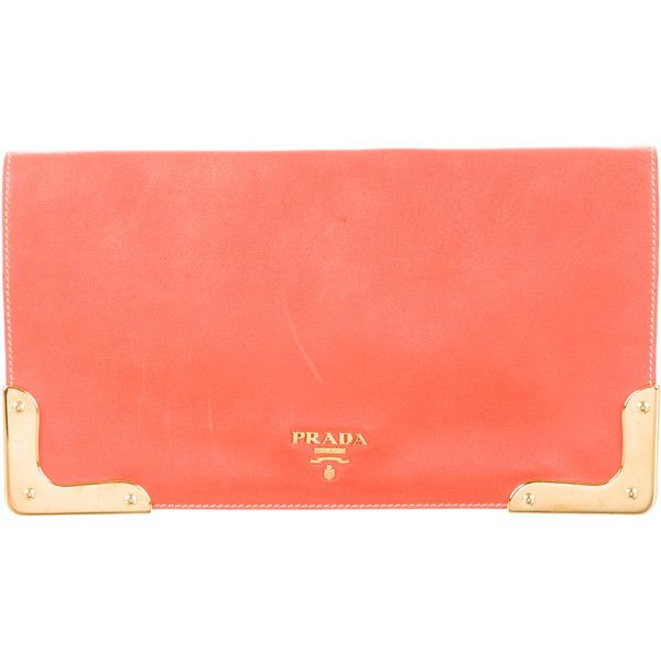 Pre-owned Prada Heritage Calf Clutch ($375) ❤ liked on Polyvore featuring bags, handbags, clutches, orange, red handbags, hand bags, prada handbags, red leather purse and red purse
