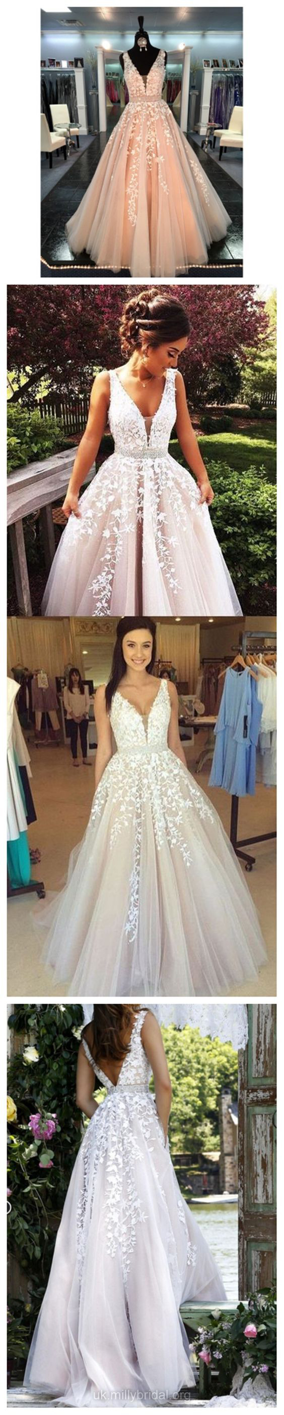 Vneck prom dresses pink long party dresses ball gown lace formal