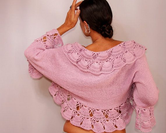 Pink Wedding Bolero, Bridal Shrug Bolero, Crochet Bolero, Knit Shrug ...