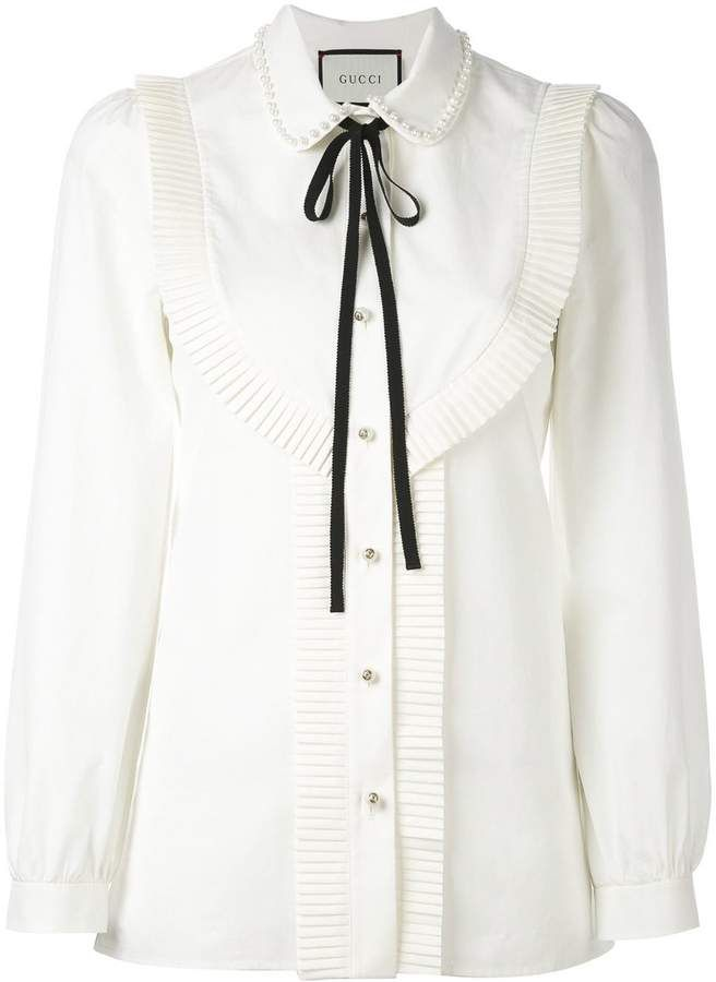 7a549afceed80e Pleated trim blouse in 2019 | Blouses and tops | Blouse, White ...