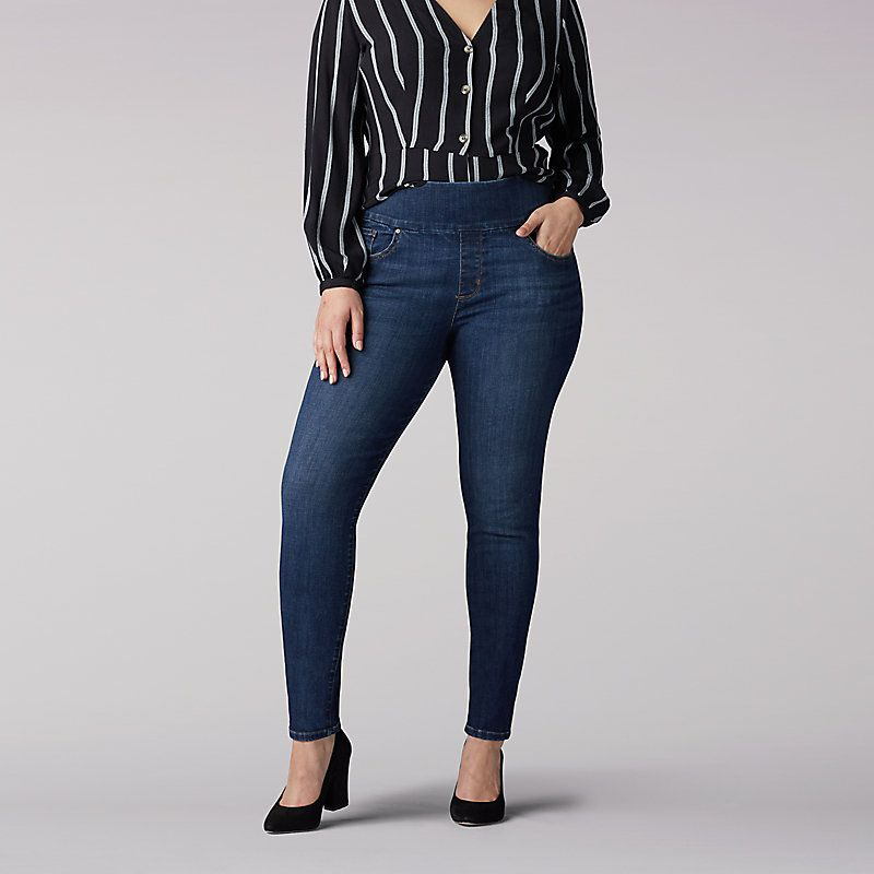 Lee Womens Plus Size Sculpting Slim Fit Skinny Leg Pull on Jean Jeans