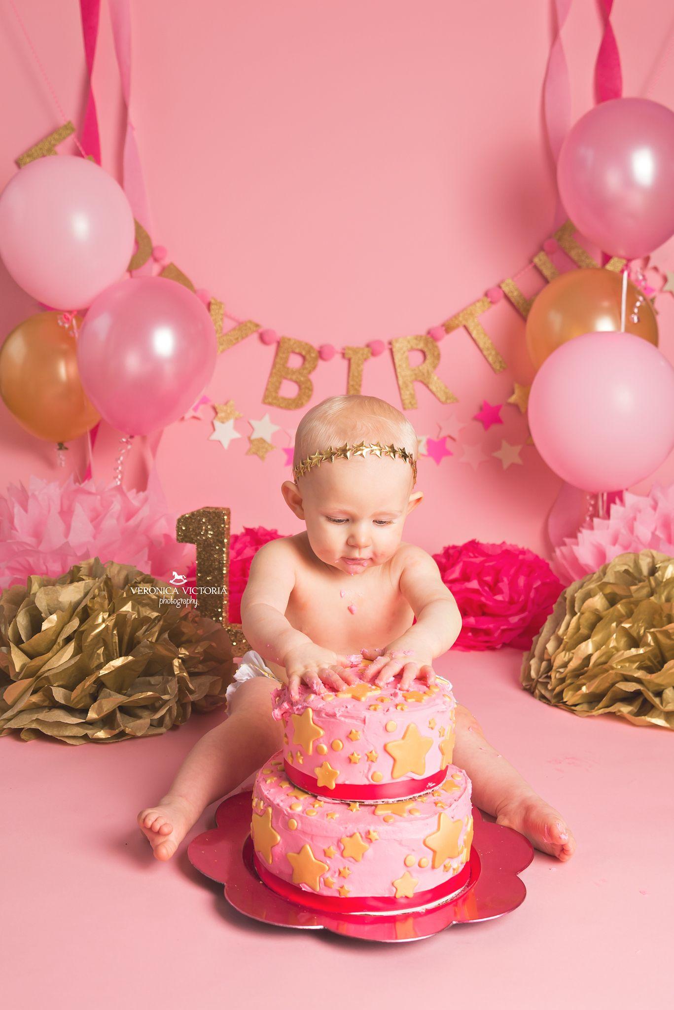 Twinkle Twinkle Little Star Cake Smash Idea Gold Amp Pink