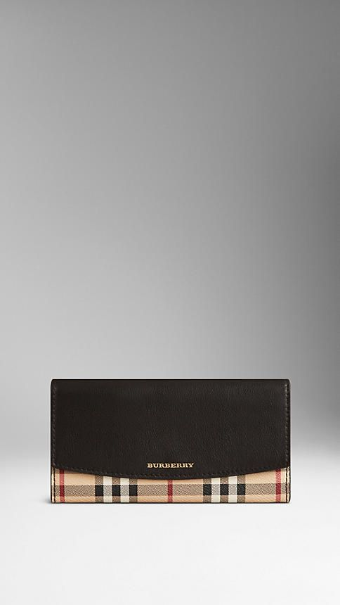 0322d433c1 Leather and Haymarket Check Continental Wallet | Burberry ...