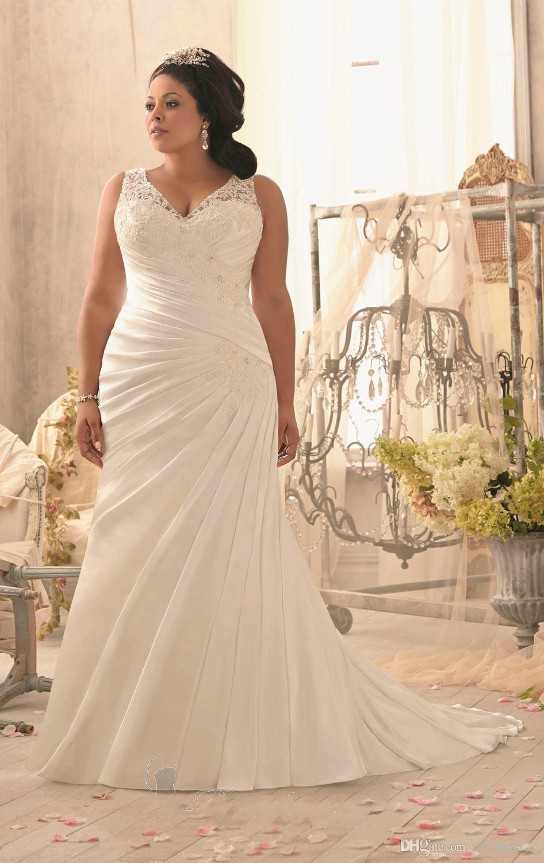 Discount Plus Size Wedding Dresses Cheap 2017 V Neck Pleats Chiffon ...