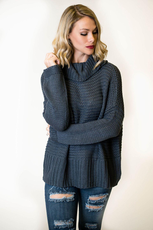 Grey Chunky Turtleneck Sweater