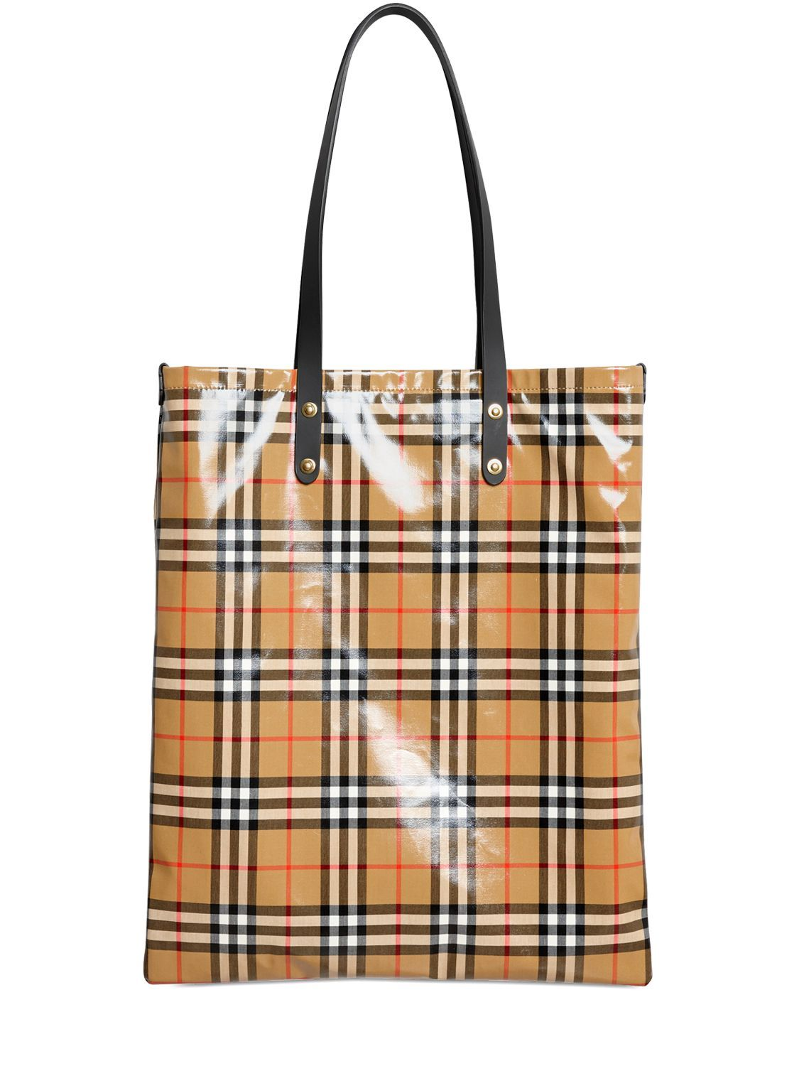 570cd93950af BURBERRY RUNWAY FW18 COATED CHECK CANVAS TOTE BAG.  burberry  bags  leather   hand bags  canvas  lace  tote