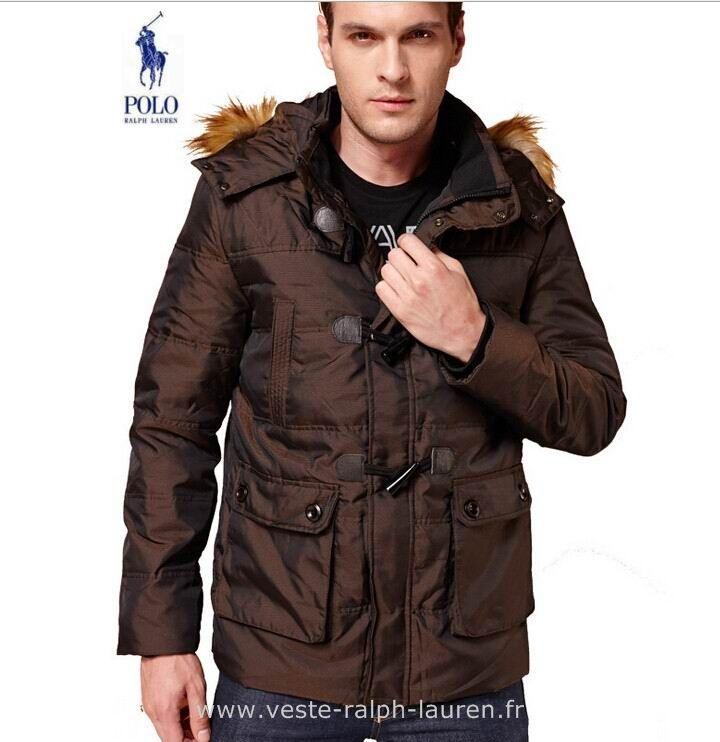 Polo officiel - Ralph Lauren doudoune hommes fourrure pas cher collier mode  americains brun brun Doudounes ba8bd82ee40