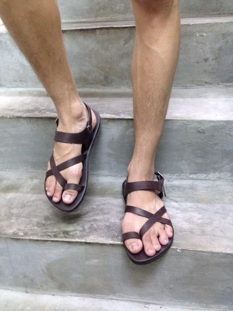 Details About Dark Brown Leather Men S Sandal Handmade