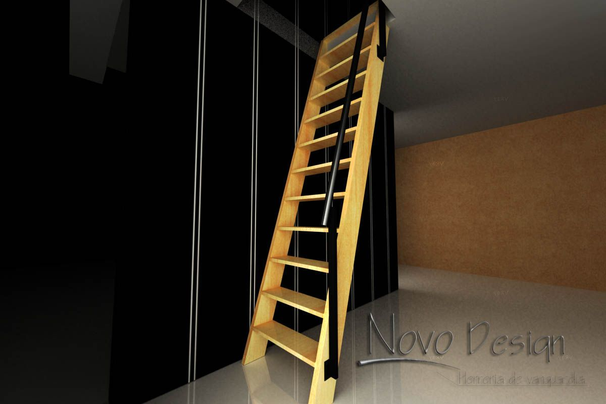 Escaleras marinera de madera con baranda de hierro for Escalera recta de hierro y madera