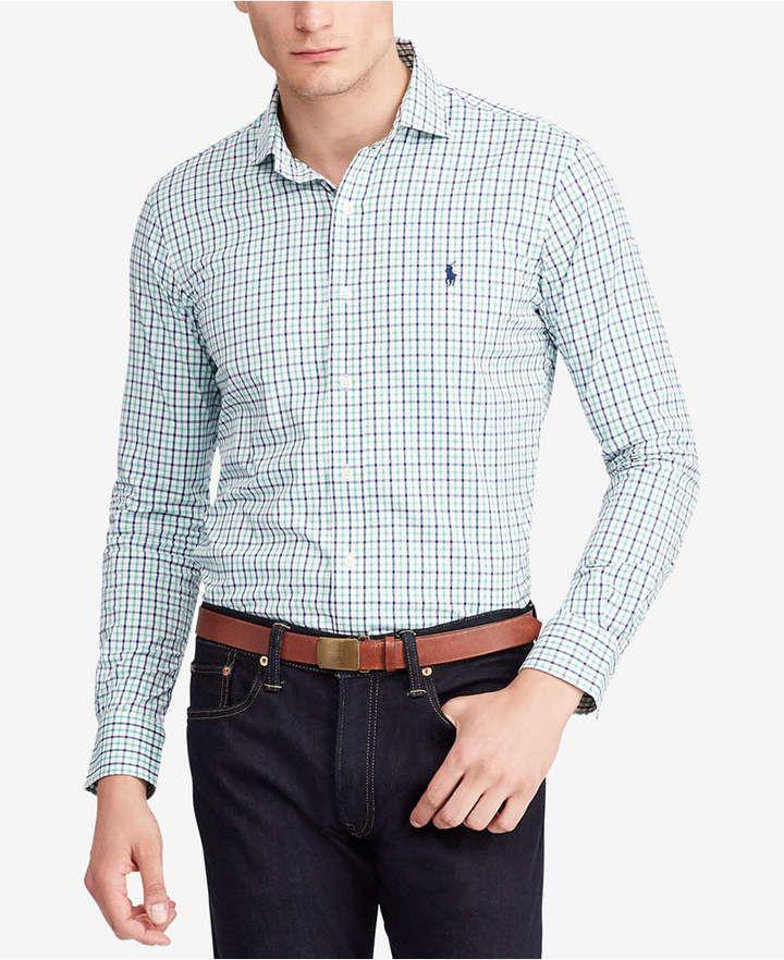 fc2521dcbd8e Polo Ralph Lauren Men Classic-Fit Plaid Performance Twill Shirt ...