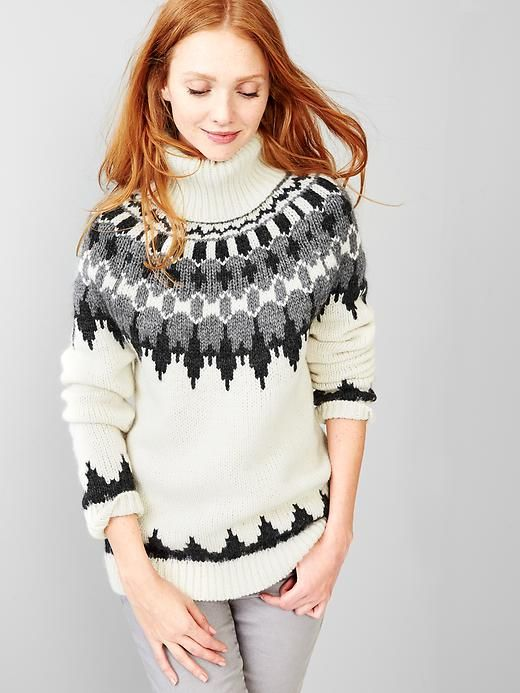 Oversize fair isle turtleneck sweater Product Image   Want to Wear ...