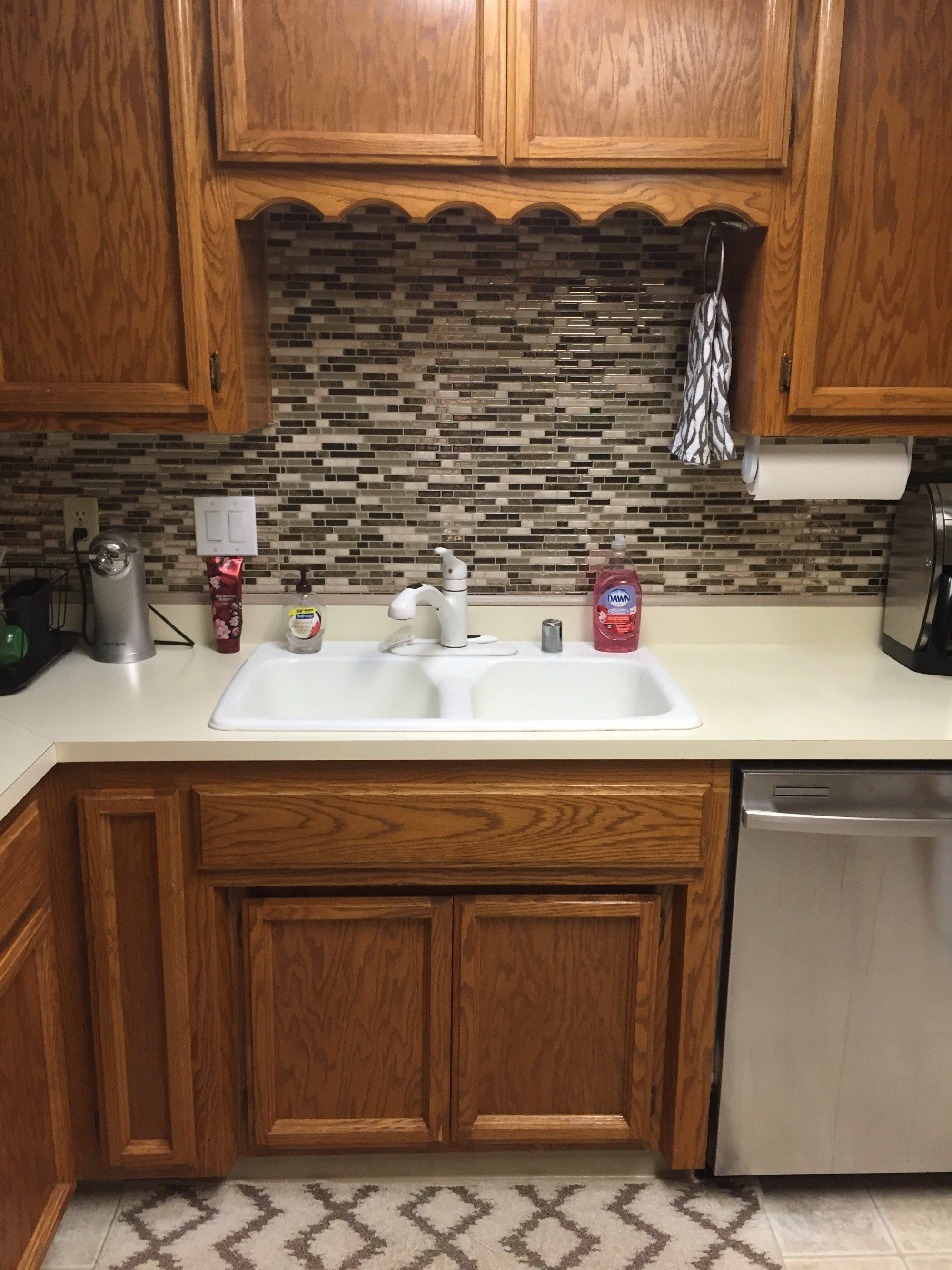 Vinyl Tile Backsplash Quick And Easy Kitchen Upgrade Backsplash