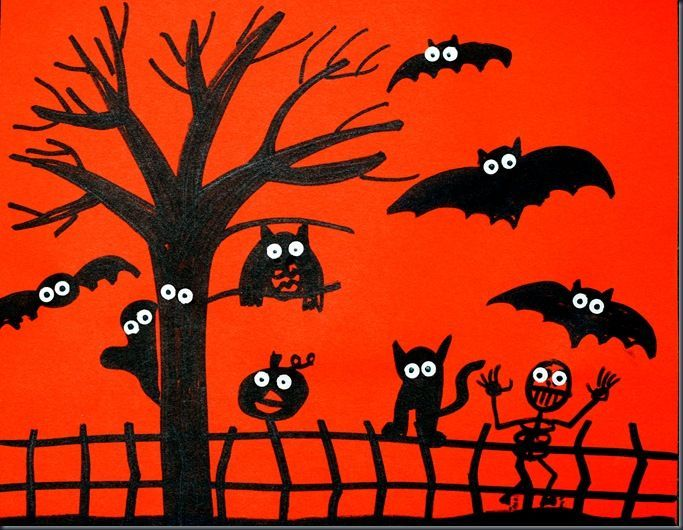 contrasted spooky silhouettes | 3rd grade art projects | Pinterest ...