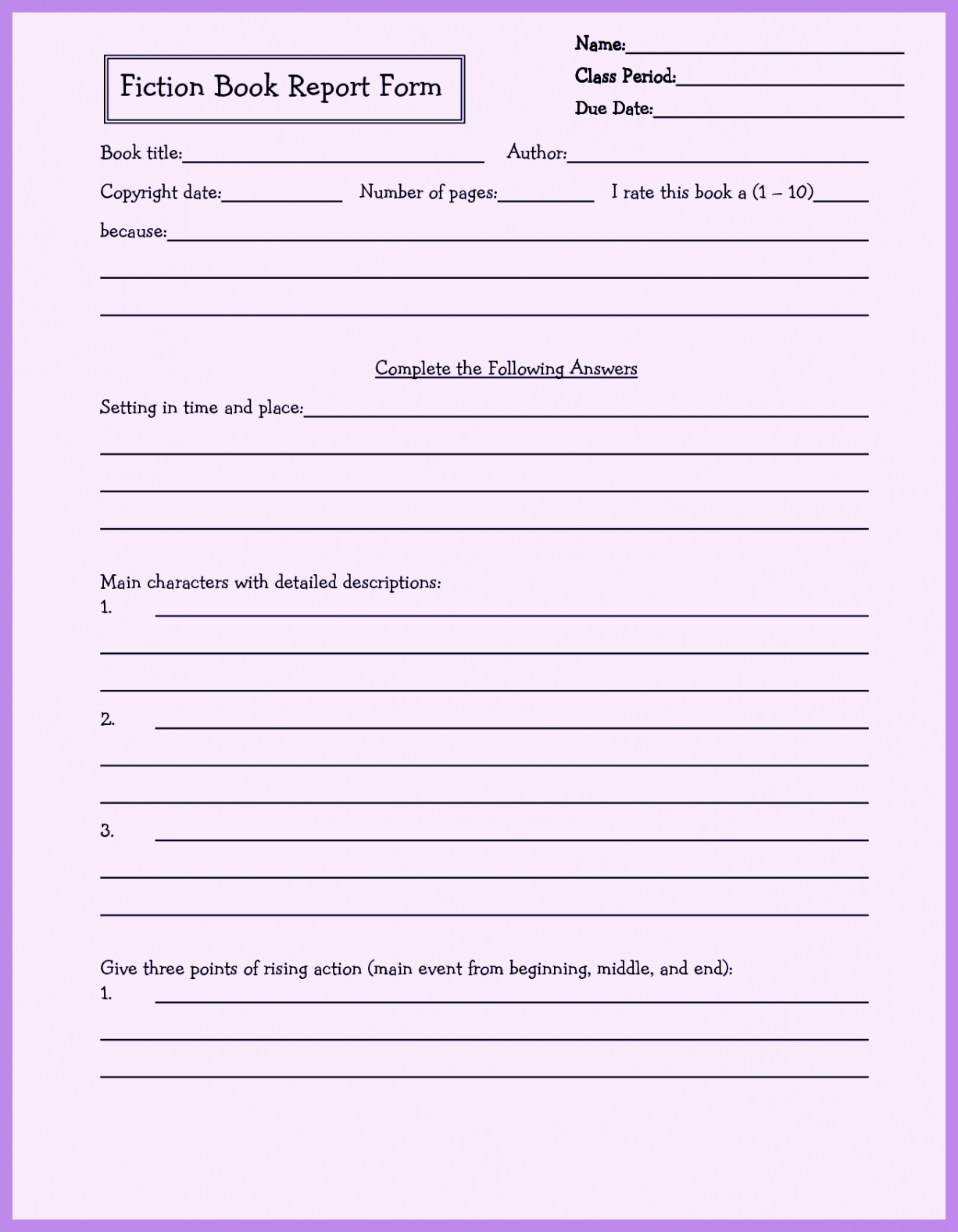 Book Report Template 4th Grade