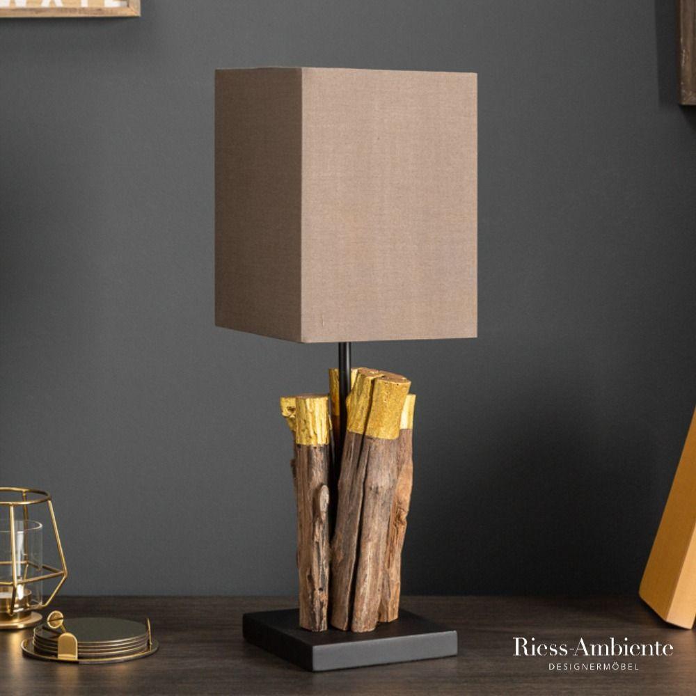 Gold Edition Treibholz Tischlampe Pure Nature 45cm Mit Baumwollschirm Tischlampen Lampe Lampen Und Leuchten