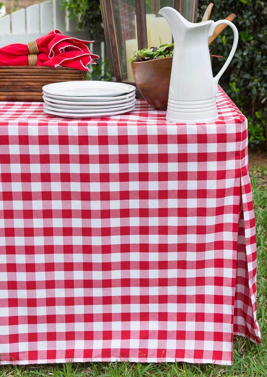 6 Foot Picnic Plaid Fitted Table Cover Red White Fitted Table Cover White Table Cover Table Covers
