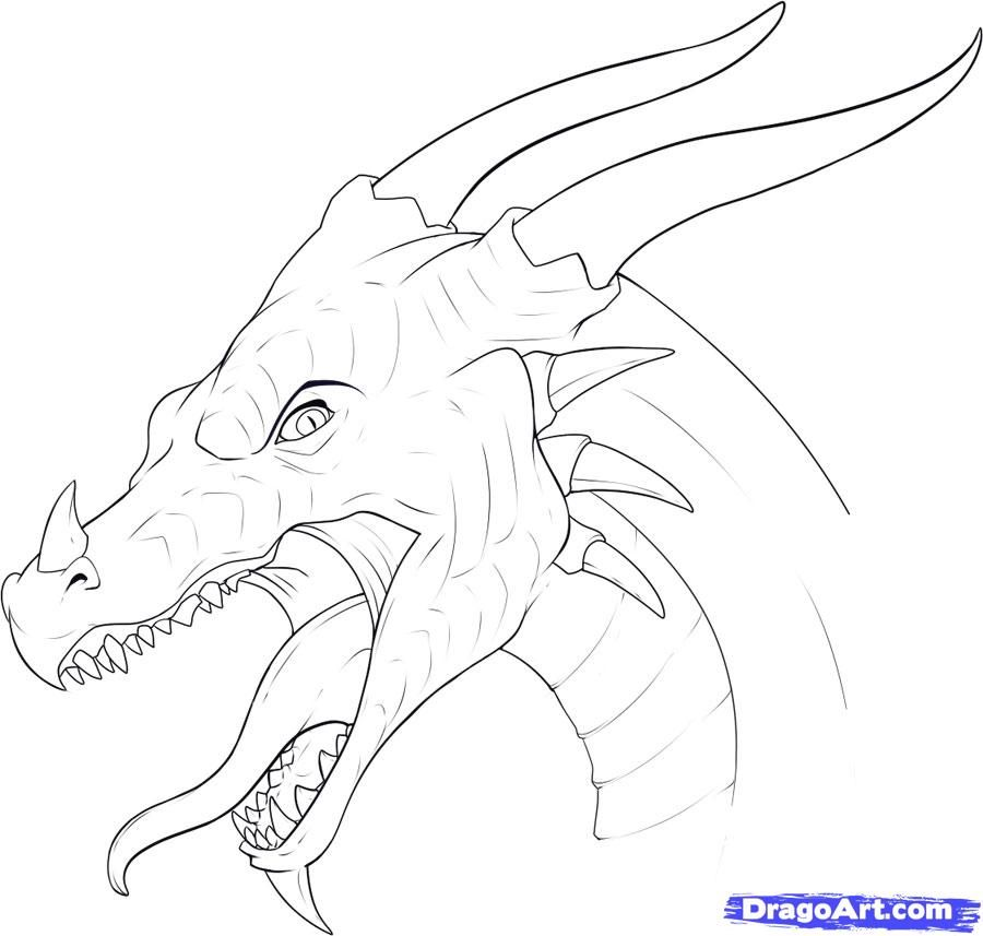 Drawing Lines With Pixels : How to draw a dragon head step g