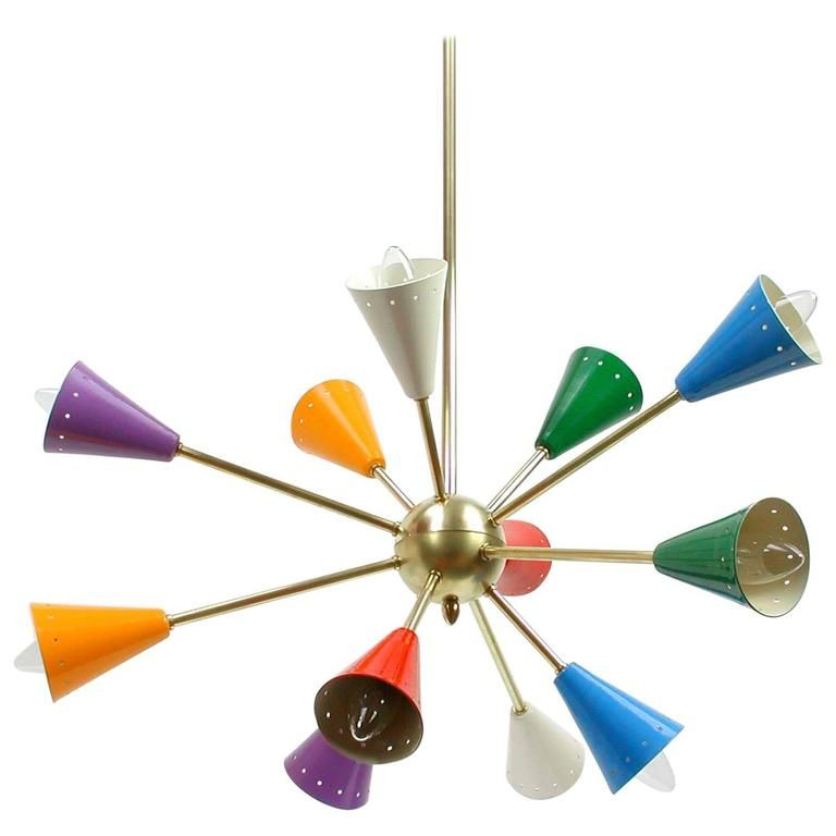1950s Italian Multi Color Sputnik Chandelier In The Manner Of Stilnovo From A Unique Collection Antique And Modern Chandeliers Pendants At