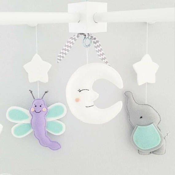 c91d71ced8189 Baby Crib Mobile- Elephants and dragon fly Mobile-grey elephants ...