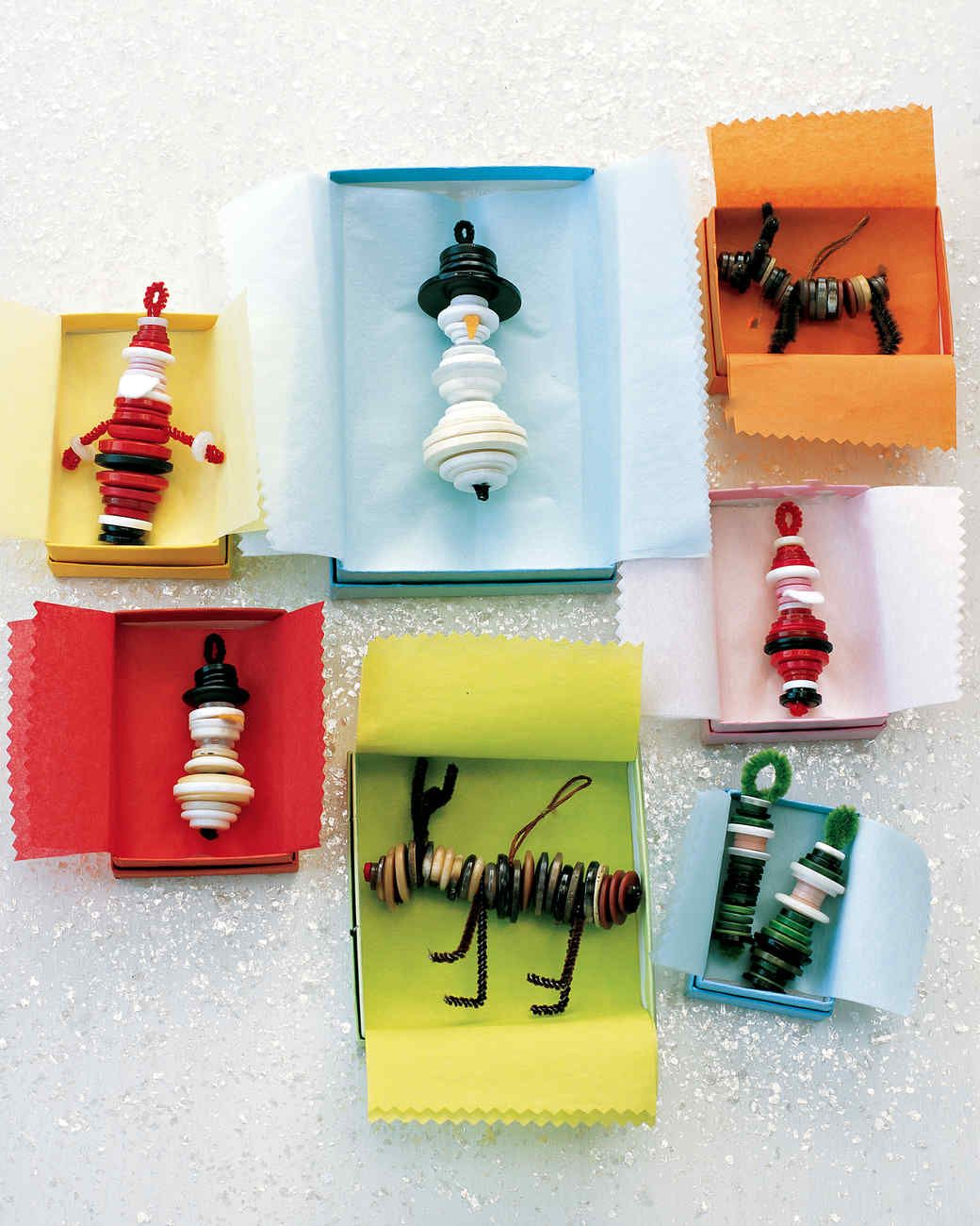 Button Ornaments Kids' Christmas Crafts | Martha Stewart Living — Kids will love mixing and matching different buttons to create an entire tree's worth of adorable Christmas figures.