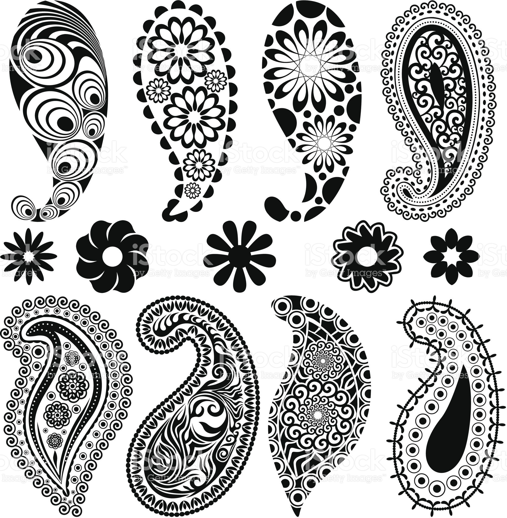 A Lot Of Paisley And Single Flowers In One Set Paisley Stencil
