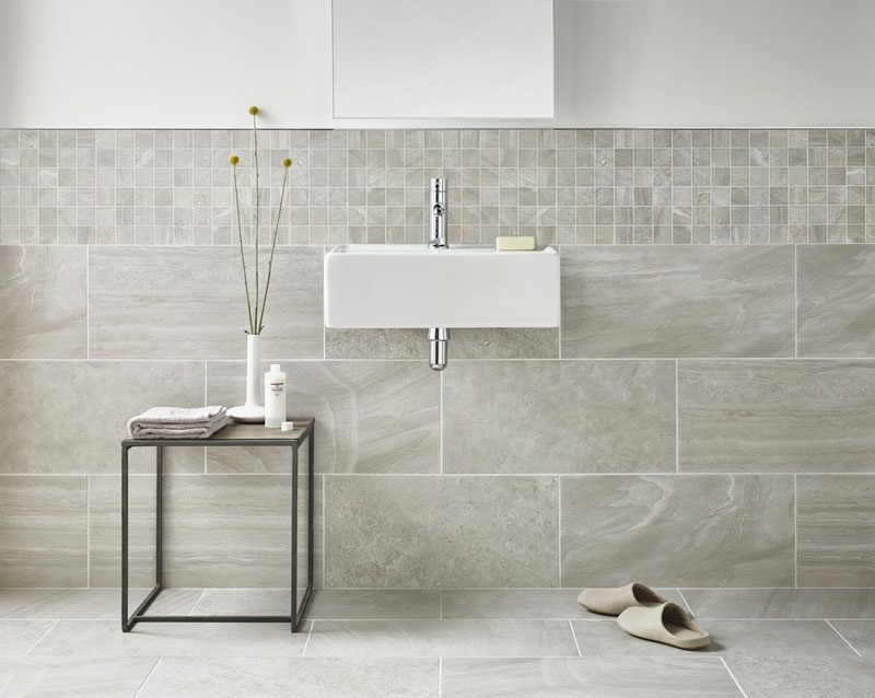 Bathroom Tile Ideas Use Large Tiles On The Floor And Walls Large Tiles That Flow From The Flo Grey Marble Bathroom Bathroom Wall Tile Wall And Floor Tiles