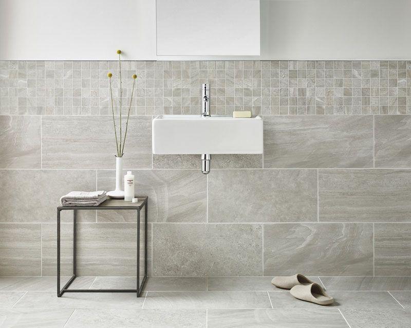 Bathroom Tile Idea Use Large Tiles On The Floor And Walls 18 Pictures Grey Marble Bathroom Bathroom Wall Tile Tile Bathroom