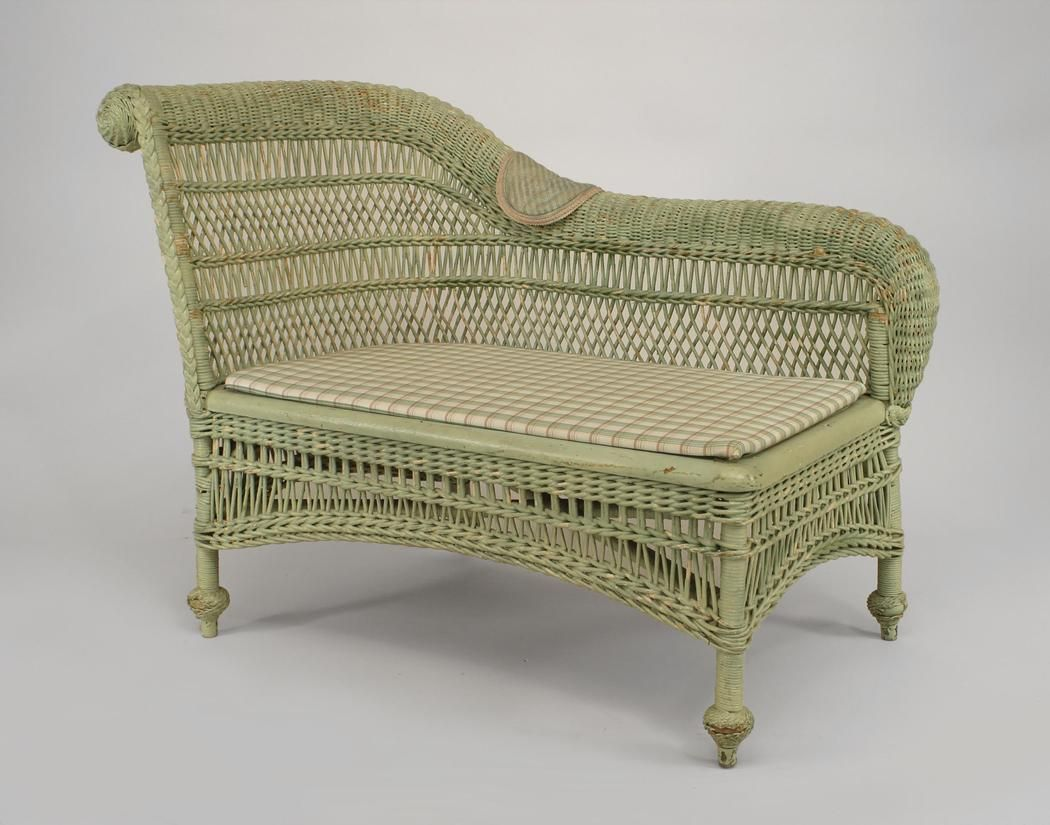 Recamiere Rattan Wicker Victorian Seating Chaise Recamier Painted Victorian