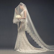 2015 Ivory Lace Wedding Veil Cathedral Wedding Veils Long Veu De Noiva Longo Voile Mariage Bridal Veils(China (Mainland))